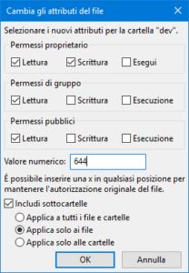 Cambiare i permessi dei file con FileZilla