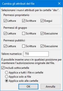 Cambiare i permessi delle cartelle con FileZilla